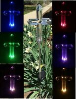 Solar Memorial Cemetery Cross Garden Stake Lawn Lamp Color Change Yard Led Light