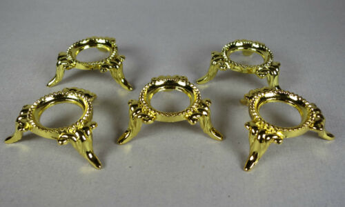 SET OF 5 SMALL NICKEL Sphere//Egg DISPLAY STANDS GOLD