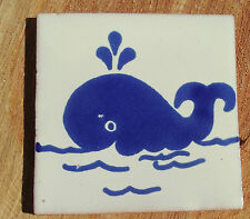 "10~Talavera Mexican 4"" tile kiln fired hand painted Blue White Whale Fish Ocean"