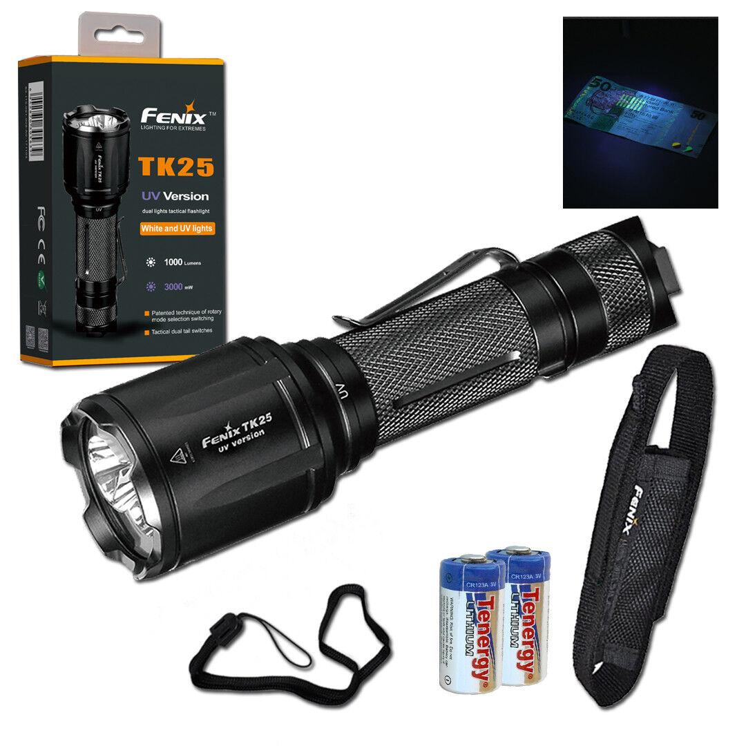 Fenix TK25UV 1000 Lumen Tactical Flashlight with UV light & 2 CR123 Batteries
