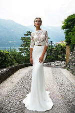 Item 3 Two Piece Lace Wedding Dress 4 Sleeve Bridal Gowns Custom 2 6 8 10 12 14 16