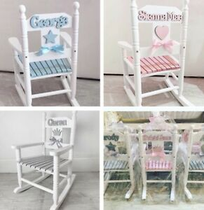 Details about CHILDREN'S WOODEN ROCKING CHAIR PERSONALISED NURSERY FREE UK COLLECTION