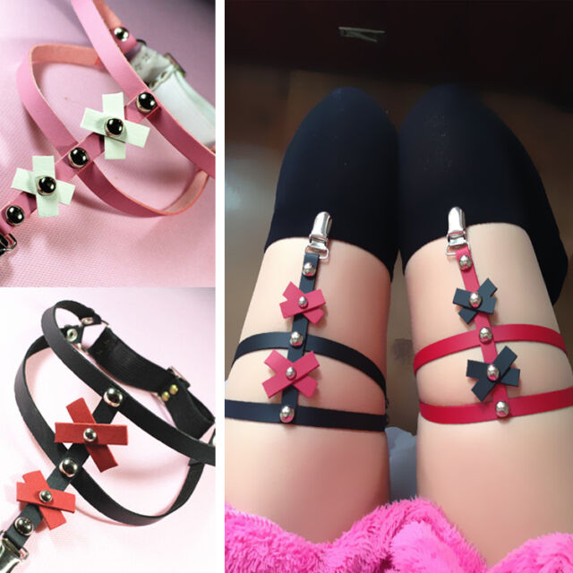 Colorblock Punk Goth Faux Leather Handmade Studded Cross Garters Belts Leg Rings