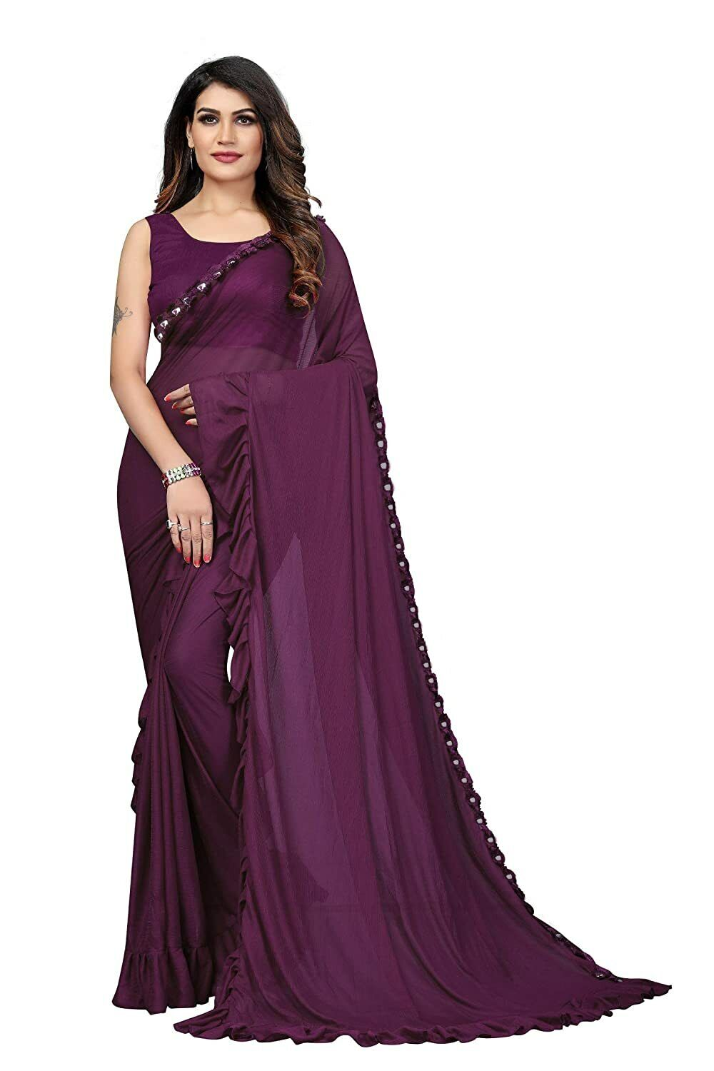 Women`s Lycra Saree With Unstitched Blouse ( Free Shipping )
