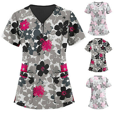 Women Short Sleeve V-neck Tops Spa Working Uniform Cartoon Floral Blouse Shirt