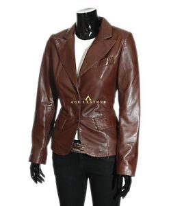 Brown véritable Smart cuir en de designer Charlize Veste pour Blazer agneau en rétro dame 7PEggwq5n