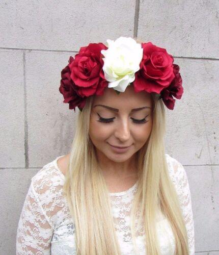 Large Burgundy Ivory Red Rose Flower Garland Headband Hair Crown Festival 2471
