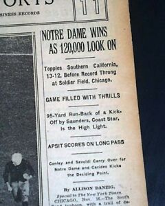 NOTRE-DAME-Fighting-Irish-vs-USC-Trojans-FOOTBALL-Knute-Rockne-1929-Newspaper
