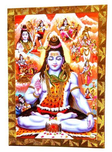 BILD  Picture SHIVA Prägedruck INDIEN Altarbild 9x13 cm  s168