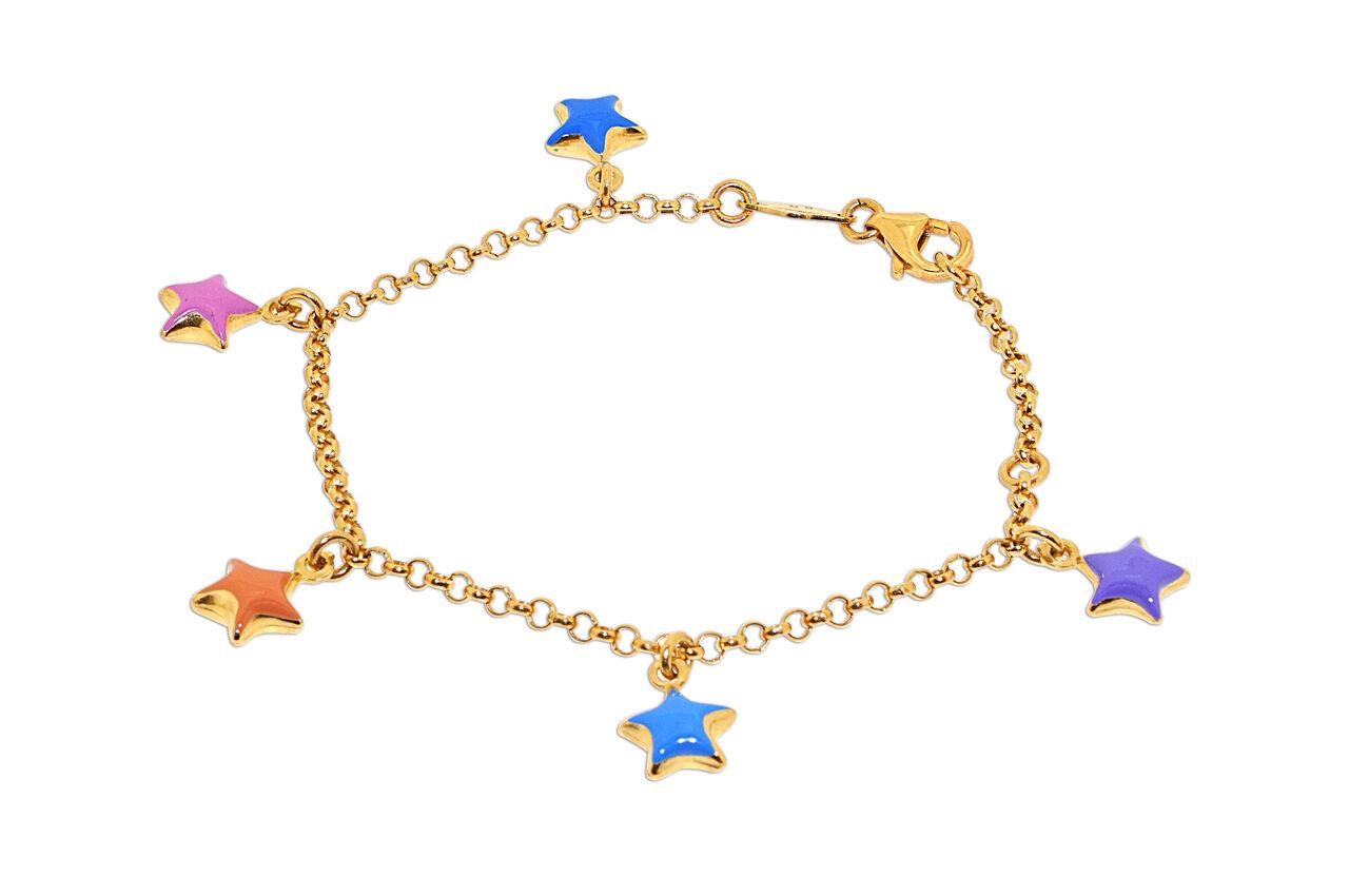 14K Yellow gold Star Charms Enamel Bracelet