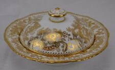 Minton Round Covered Small Butter Dish Heavy Fancy Gold Scrolls Beautiful #1
