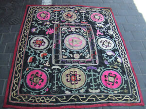 Antique Uzbek Silk Hand Made Embroidered Suzani 140x117-cm 55.1x46.0-inches To Have Both The Quality Of Tenacity And Hardness
