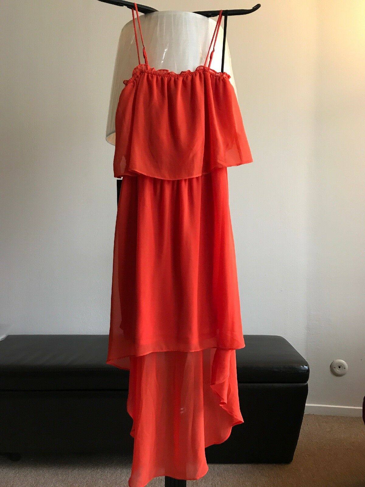 Bebe high low dress, color Mandarin Red (orange), Size XS. MSRP  129