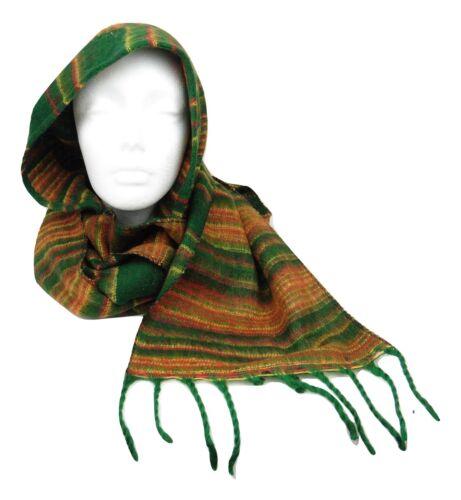 HS4 Warm Snug Indian Soft Stripe Acrylic Wool Hat Hippy Scarf Combo Green