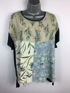 WOMENS-ZARA-MULTICOLOURED-SHORT-SLEEVE-FLOWER-PATTERNED-CASUAL-T-SHIRT-SIZE-L