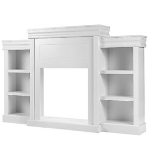 """Costway 70"""" Fireplace TV Stand Modern Media Entertainment Center Bookcase White"""