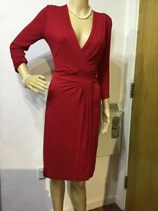 HOBBS-FITTED-DRESS-SIZE-UK-10-US-6-RED-96-VISCOSE-4-ELASTANE