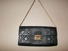 "Calvin Klein Black Clutch Handbag with Gold Chain 6"" x 11.5"" Excellent Condition"