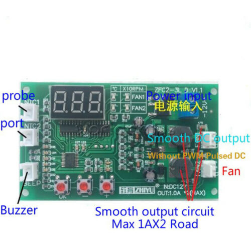 12V Fan Speed Controller 3-wire Digital Display Dual Ways Temperature Thermostat
