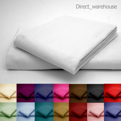 Polycotton Percale FLAT Bed Sheet in Single Double Superking King