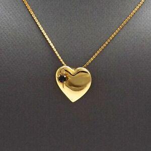 Vintage-12k-Gold-Filled-Sapphire-September-Birthstone-Heart-Pendant-Necklace