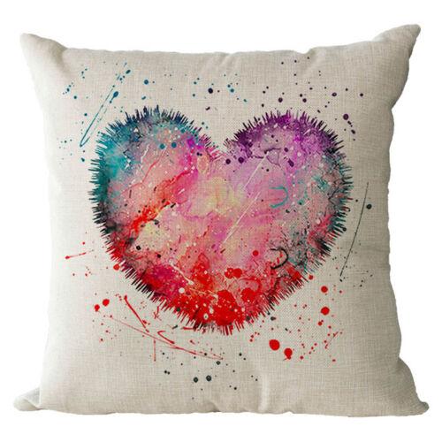 Couleur Love Coeur lin coton fashion Throw Taie d/'oreiller Housse de coussin NEUF