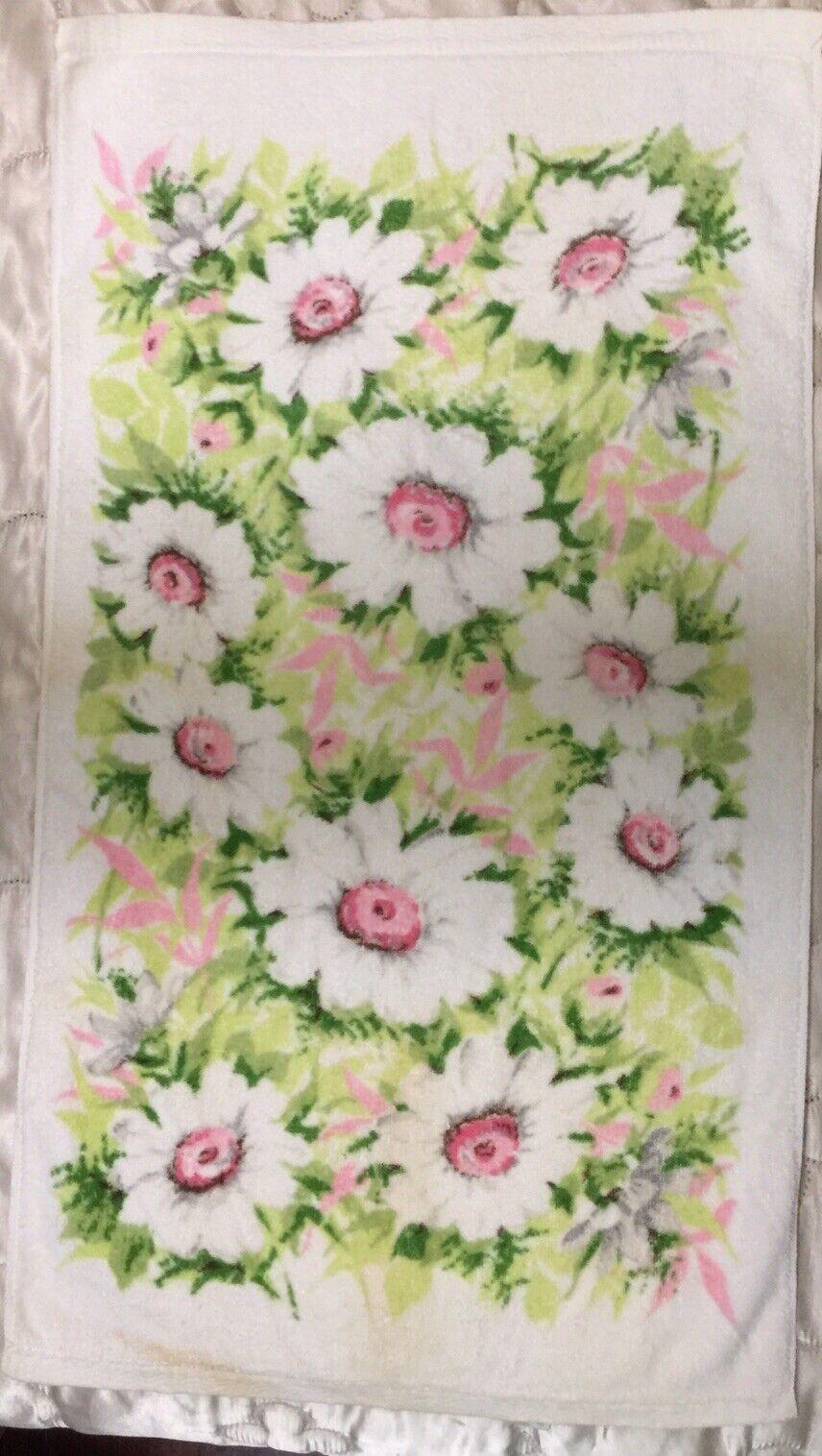 1 Vtg Hand Towel Springmaid NWOT White Daisies Floral USA Cotton