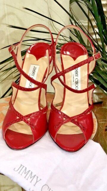 d6be721ee684 Jimmy Choo Toyah Leather and Elaphe Snake Peep-Toe Sandal Red  725 - 39