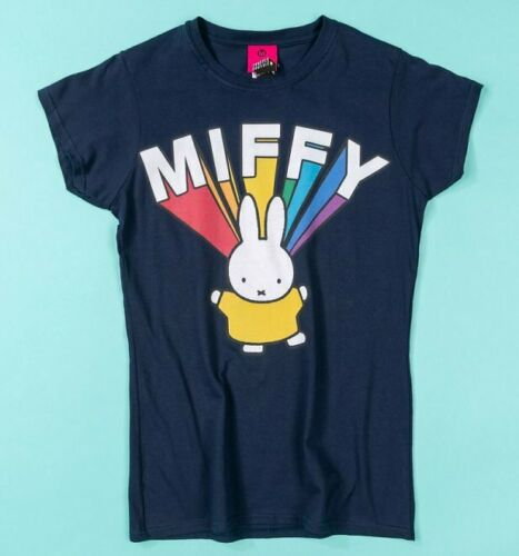 Official Women/'s Miffy Rainbow Name Navy Fitted T-Shirt