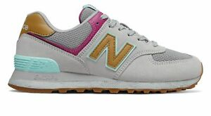 New-Balance-Women-039-s-574-Shoes-Grey-with-Pink