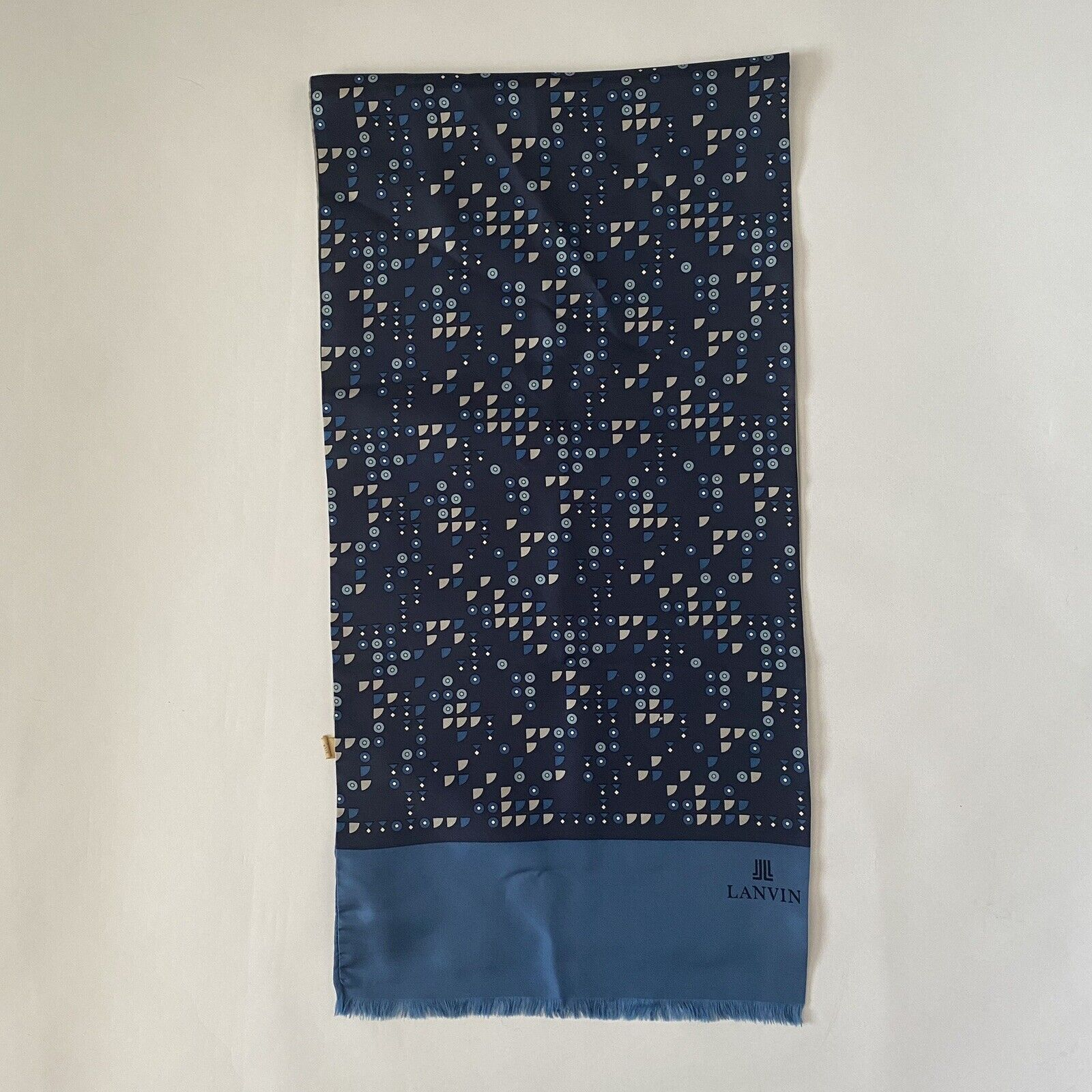 Vintage 70s Lanvin Geometric Silk Scarf - image 3
