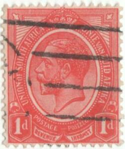 South-Africa-1913-1d-rose-red-wmk4-used-stamp