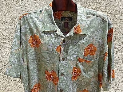 Men's LA CABANA XL Rayon Hawaiian Short Sleeve Hibiscus & Tribal Graphics