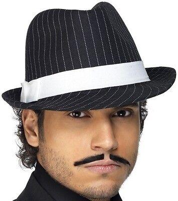 Responsabile Black Borsalino Gangster, Mafia Cappello Withfeature Stripe-mostra Il Titolo Originale
