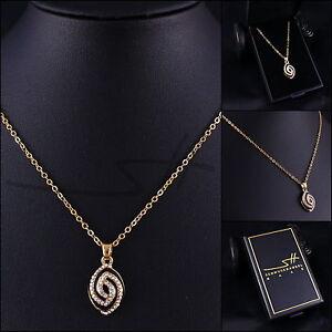 1-Geschenk-Kette-Halskette-Ellipse-Gelbgold-pl-Swarovski-Elements-Etui