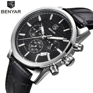 BENYAR-Edelstahl-Chronograph-Sport-Herrenuhren-Luxus-Quartz-Business-Watch