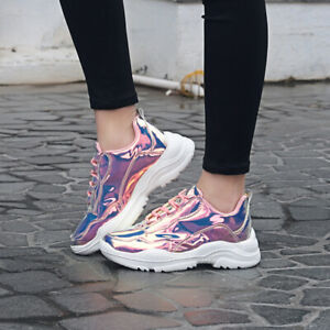 Womens-Sneaker-Non-Slip-Metallic-Leather-Glitter-Fashion-Sneakers-Shoes-Lace-Up