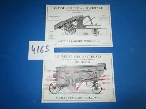 N° 4165 /  Sté Française VIERZON : prospectus batteuse n°1 type normal 1928