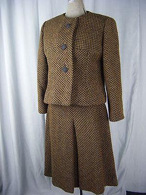 B.h.wragge / Montaldo's Vtg 60er Jahre Braun/schwarze Jacke & Skirt-bust 38 /