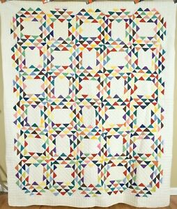 Colorful Vintage 40's Ocean Waves Antique Quilt ~All Solid Colors!