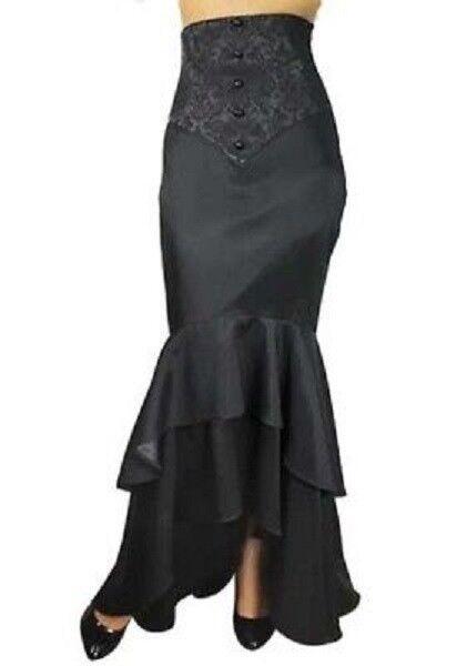 Ladies Gothic Victorian Steampunk Fishtail Ruffles Mermaid Corset Skirt Size 10
