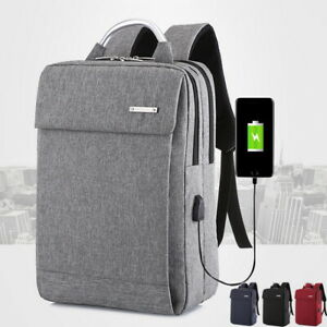 Unisex-Homme-Sac-a-Dos-Ordinateur-Portable-College-de-Charge-USB-d-039-Affaires