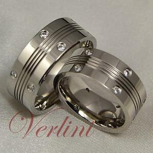 8MM-Men-039-s-amp-Women-039-s-Titanium-Rings-Simulated-Diamond-Wedding-Bands-Matching-Set