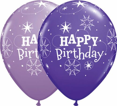 "Party Themes 6 x 27.5cm HAPPY BIRTHDAY SPARKLE Qualatex Latex Balloons 11/"""