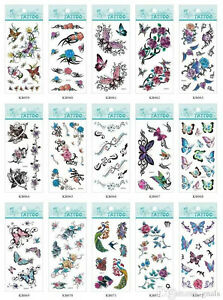9a8b184a1 Image is loading TEMPORARY-TATTOOS-RETRO-TRIBAL-TATTOOS-ROSE-BUTTERFLY- DRAGON-