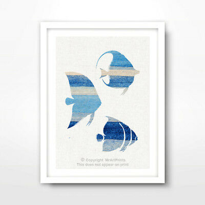 FISH BLUE SILHOUETTES SEALIFE ART PRINT Poster Seaside 10Size Decor Wall Picture