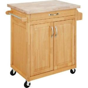 Details About Rolling Kitchen Cart Island Small Microwave Stand Cupboard Drawer Wood Natural