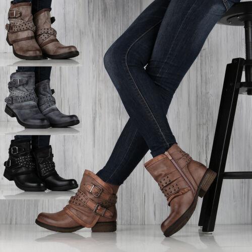 Damen Stiefeletten Biker Boots Schuhe Booties Nieten 892661 Top