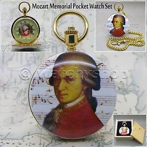14K Gold Mozart Antique Mens Enamel Quartz Pocket Watch with Chain Gift Box C33