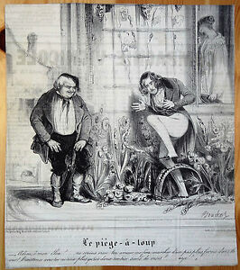BOUCHOT-Le-CHARIVARI-Caricatures-Humour-XIXe-Les-malheurs-d-039-un-amant-heureux-7